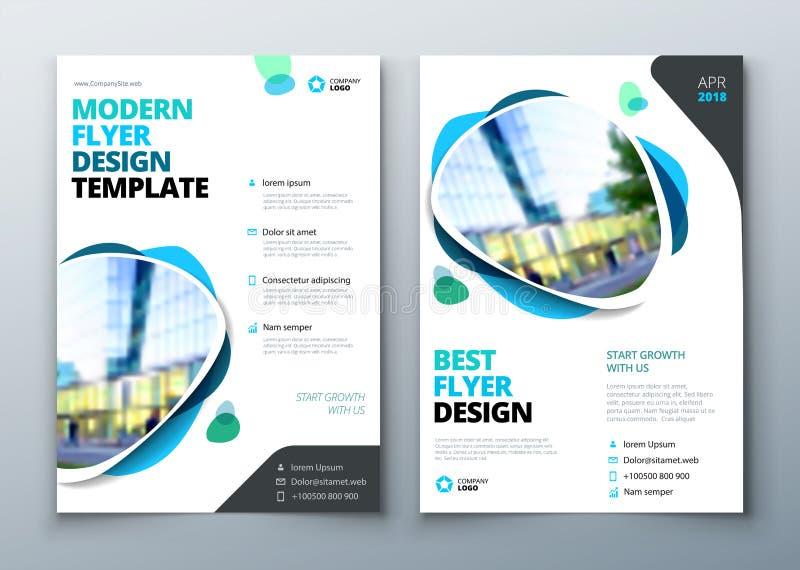 Design för reklambladmallorientering Affärsreklamblad-, broschyr-, tidskrift- eller flygbladmodell i ljusa färger vektor royaltyfri illustrationer