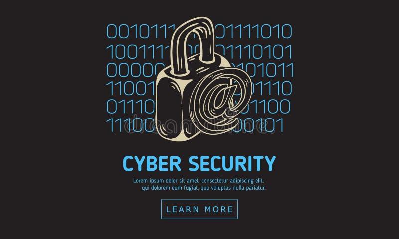 Design för rengöringsduk för Cybersäkerhetssäkerhet med ett lås och på symbolet på en bakgrund för binär kod Konstnärlig dragen t stock illustrationer