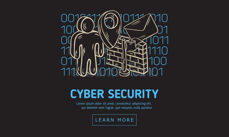 Design för rengöringsduk för Cybersäkerhetssäkerhet med släkta symboler på en bakgrund för binär kod Konstnärlig dragit knapphänd stock illustrationer
