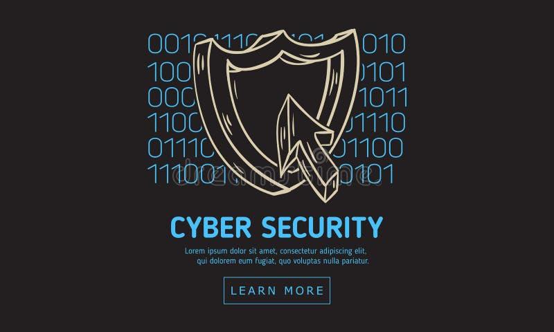 Design för rengöringsduk för Cybersäkerhetssäkerhet med symboler för en sköld och för en markör på en bakgrund för binär kod Kons vektor illustrationer