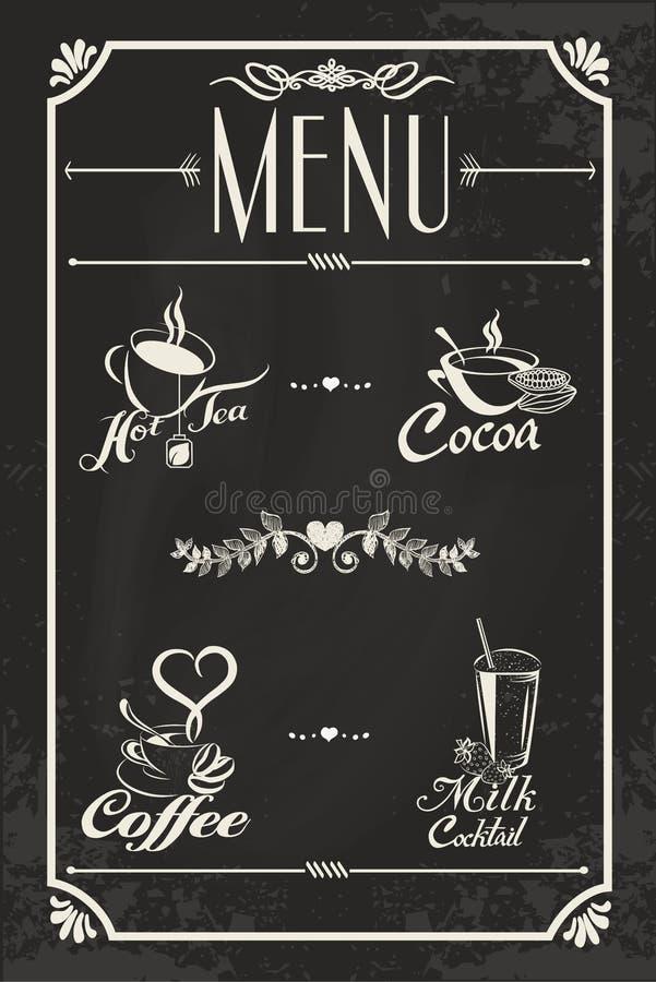Design för restaurangdrinkmeny med den svart tavlan royaltyfri illustrationer