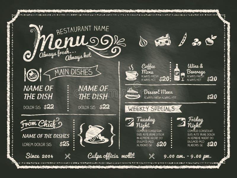 Design för restaurangmatmeny med svart tavlabakgrund royaltyfri illustrationer