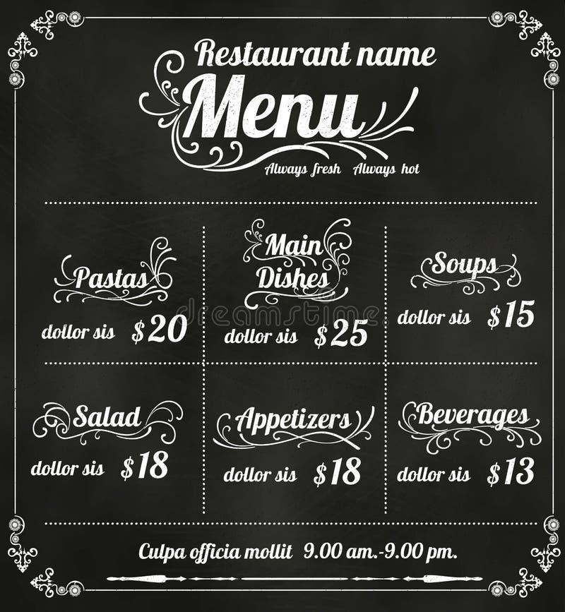 Design för restaurangmatmeny med svart tavlabakgrund stock illustrationer