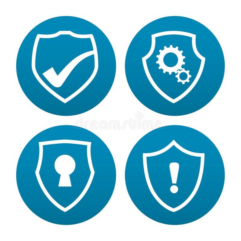 Design för säkerhet rengöringsdukför vara värd och data stock illustrationer