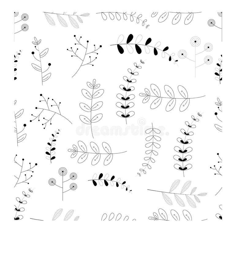 Design för sömlös modell för flora grafisk svart white Mode; bakgrund; tapet; tryck f?r illustrationsk?ld f?r 10 eps vektor vektor illustrationer
