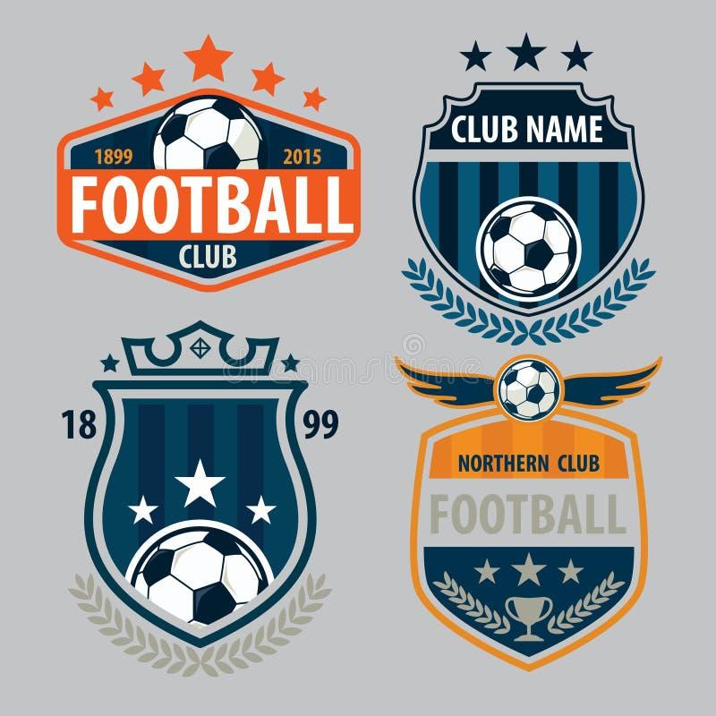 Design för samling för mall för fotbollemblemlogo, fotbolllag, vecto stock illustrationer