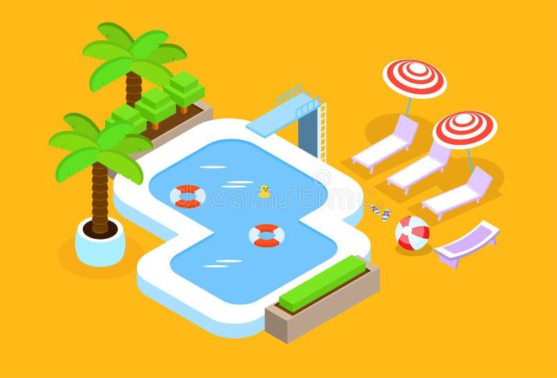 Design för semester för simbassänghotellsommar isometrisk 3d royaltyfri illustrationer