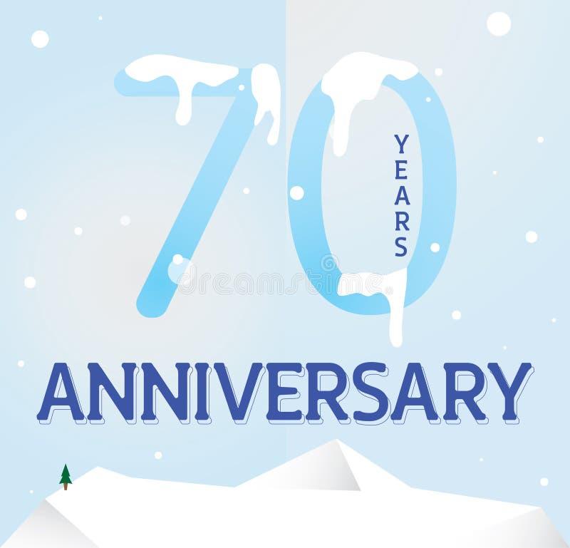 Design för Seventyy årsdagmall för rengöringsduk royaltyfri illustrationer