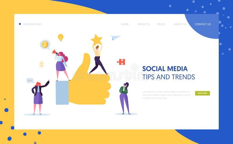 Design för sida för Digital social marknadsföra teckenlandning Annonsbyråteamwork för online-strategiutveckling royaltyfri illustrationer