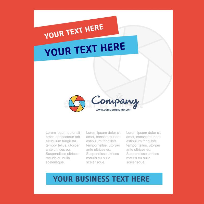 Design för sida för titel för kameraslutare för företagsprofilen, årsrapport, presentationer, broschyr, broschyrvektorbakgrund royaltyfri illustrationer