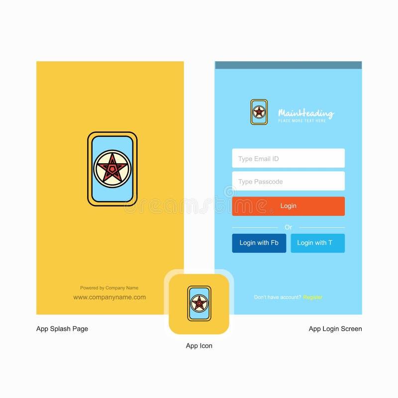 Design för skärm för företagskortspelfärgstänk och inloggningssidamed logomallen Mobil online-affärsmall vektor illustrationer