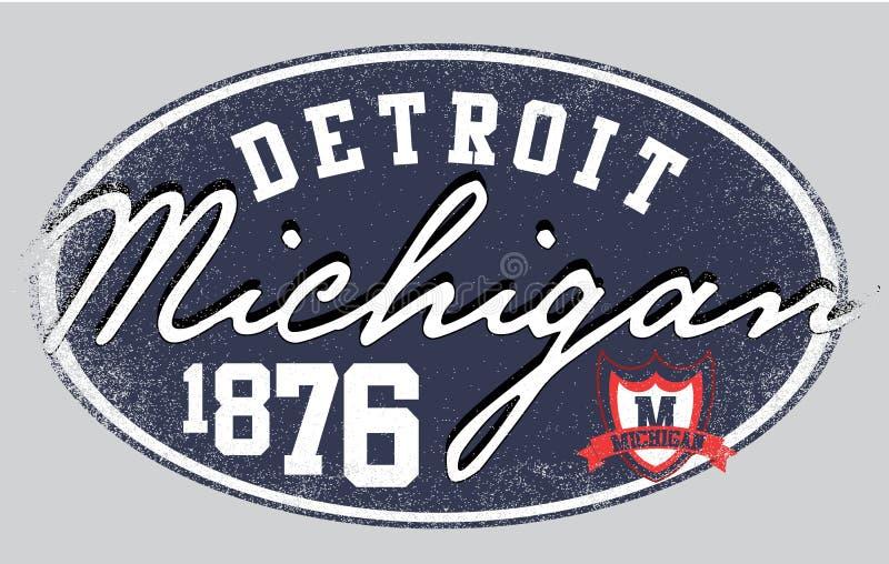 Design för skjorta för Michigan Detroita manhögskola T grafisk vektor illustrationer