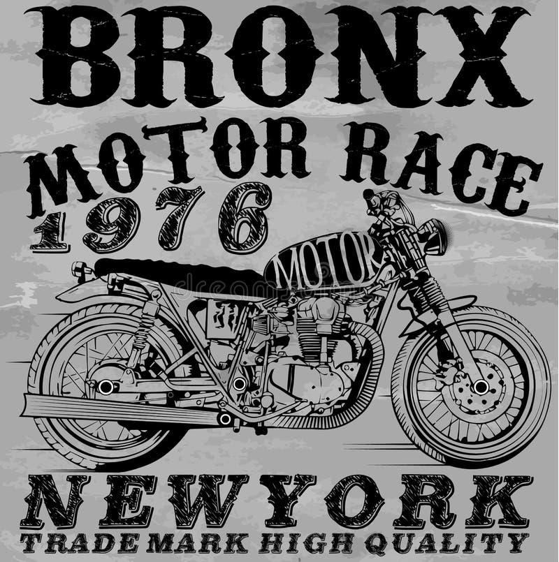 Design för skjorta för motorcykel T grafisk stock illustrationer