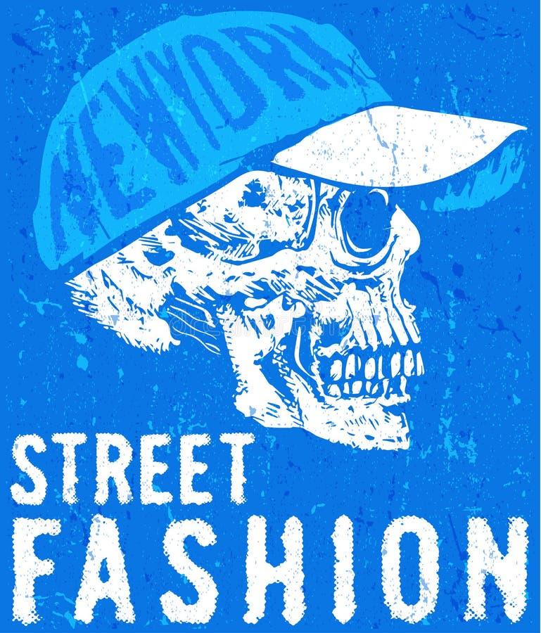 Design för skjorta för skalle T grafisk stock illustrationer