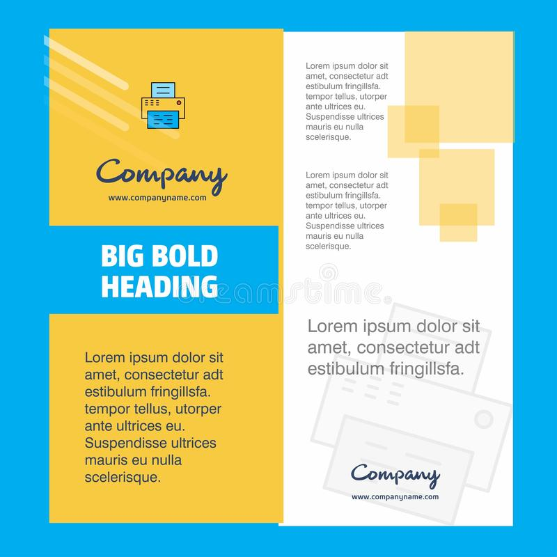 Design för skrivarCompany Brochure Title sida Företagsprofil, årsrapport, presentationer, broschyrvektorbakgrund royaltyfri illustrationer