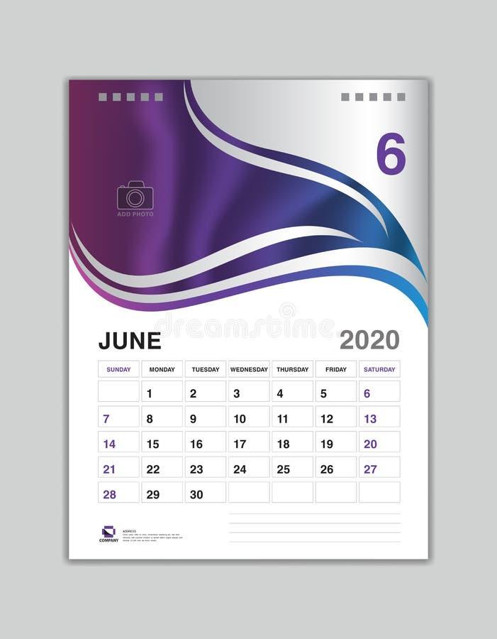 Design för skrivbordkalender, JUNI 2020 årsmall, kalender2020 vektor, veckastart på söndag, stadsplanerare, brevpapper vektor illustrationer