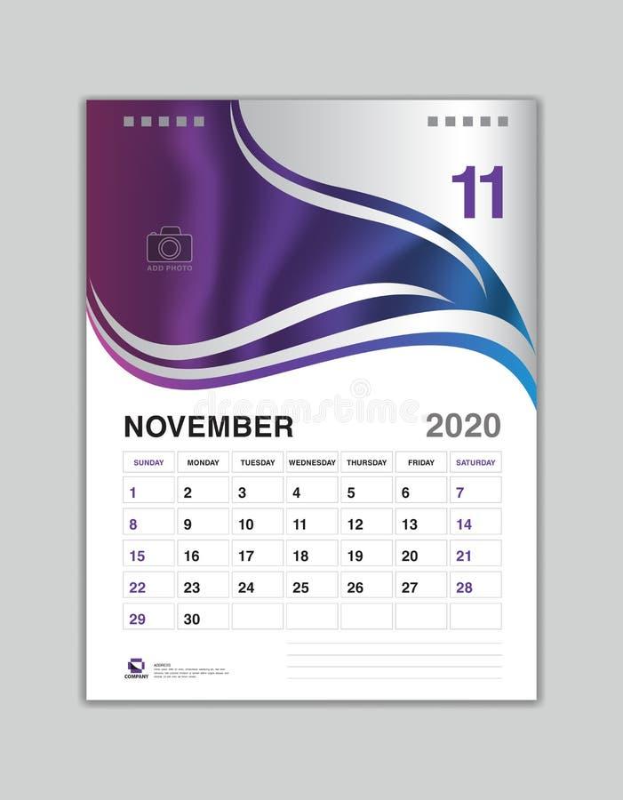 Design för skrivbordkalender, NOVEMBER 2020 årsmall, kalender2020 vektor, veckastart på söndag, stadsplanerare, brevpapper royaltyfri illustrationer