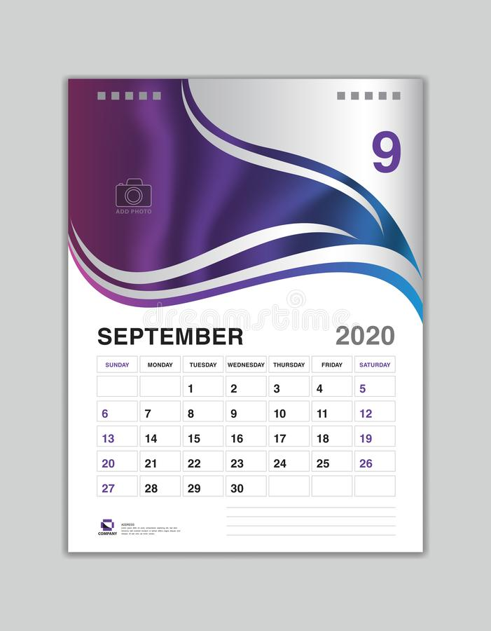 Design för skrivbordkalender, SEPTEMBER 2020 årsmall, kalender2020 vektor, veckastart på söndag, stadsplanerare, brevpapper vektor illustrationer