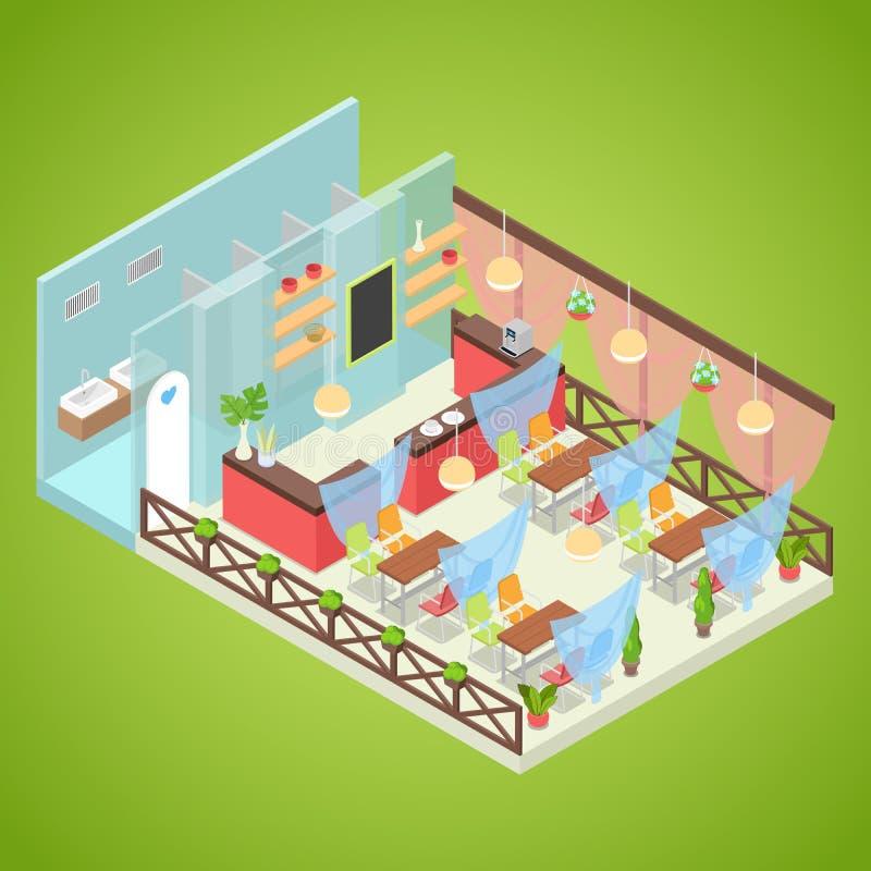 Design för sommarkaféinre Utomhus- snabbmat Isometrisk illustration för lägenhet 3d vektor illustrationer