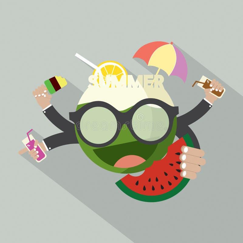 Design för sommarsymbolslägenhet royaltyfri illustrationer