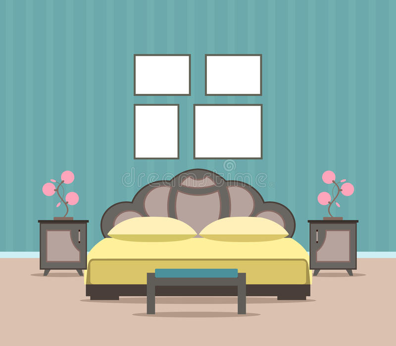 Design för sovrumvardagsruminre i plan stil inklusive möblemang, säng och tomma ramar för modell royaltyfri illustrationer