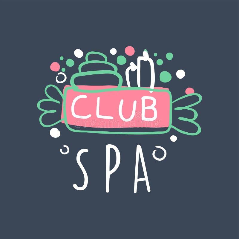 Design för Spa klubbalogo, emblem för wellnessen, illustration för vektor för yogamitt hand dragen stock illustrationer