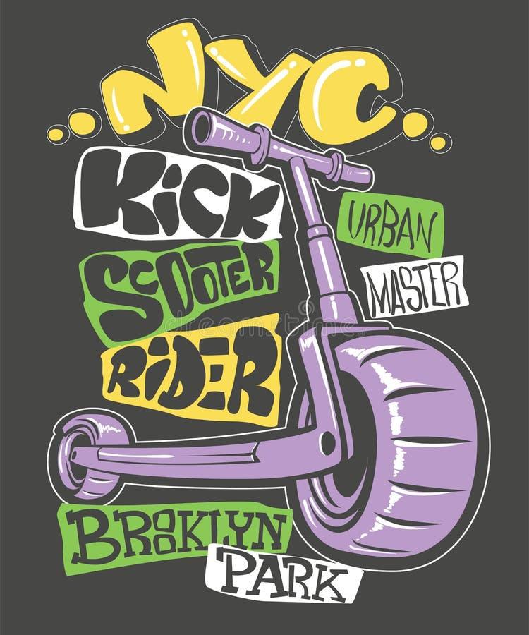Design för sparksparkcykeltryck, vektorillustration royaltyfri illustrationer