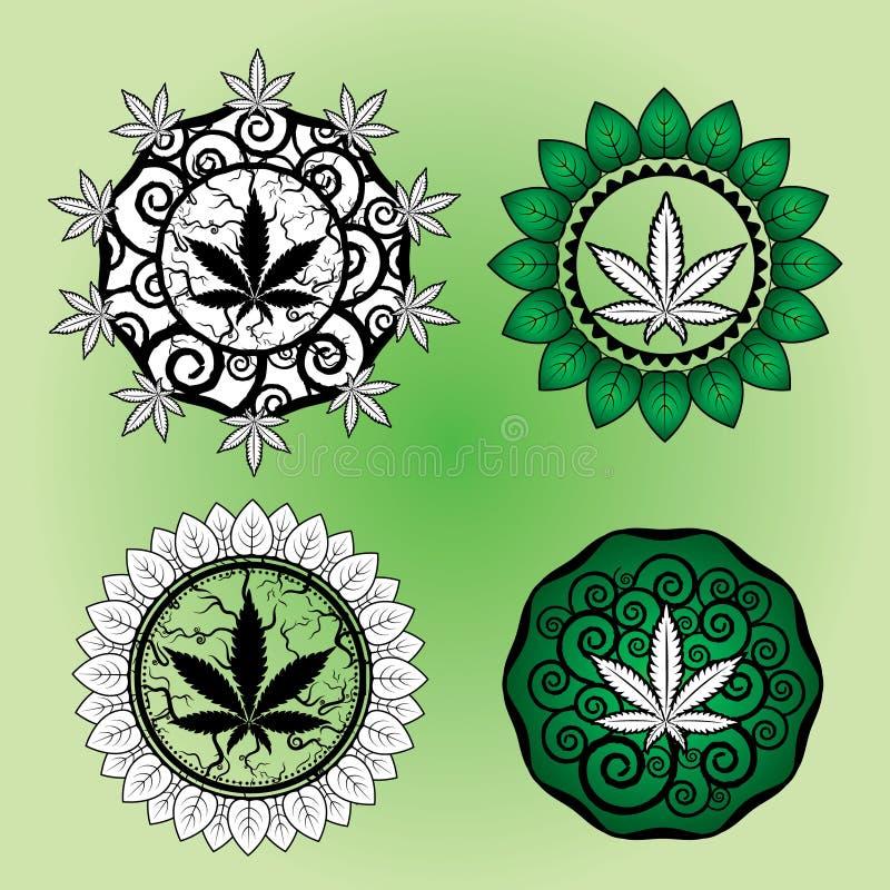 Design för stämpel för marijuanabladdesign royaltyfri illustrationer