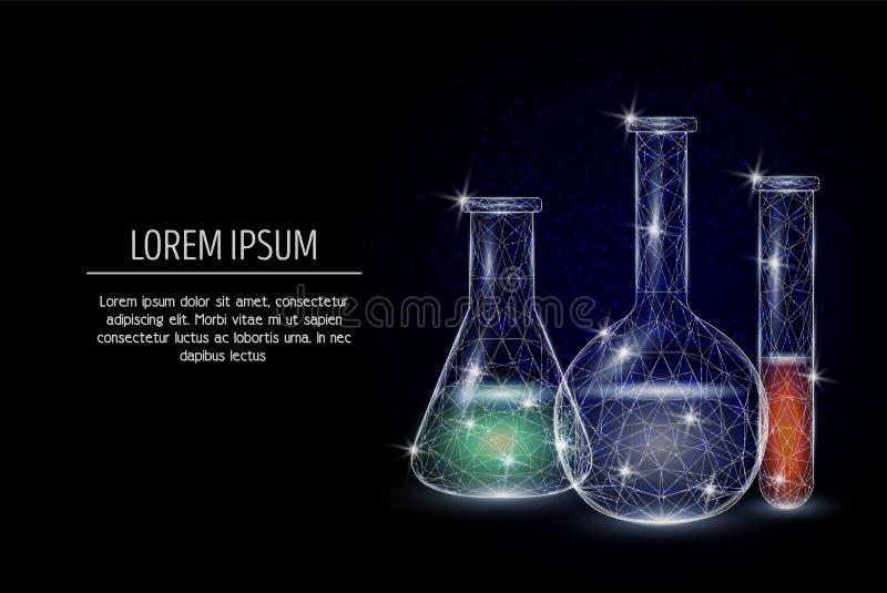Design för stil för konst för kemivektor geometrisk polygonal royaltyfri illustrationer