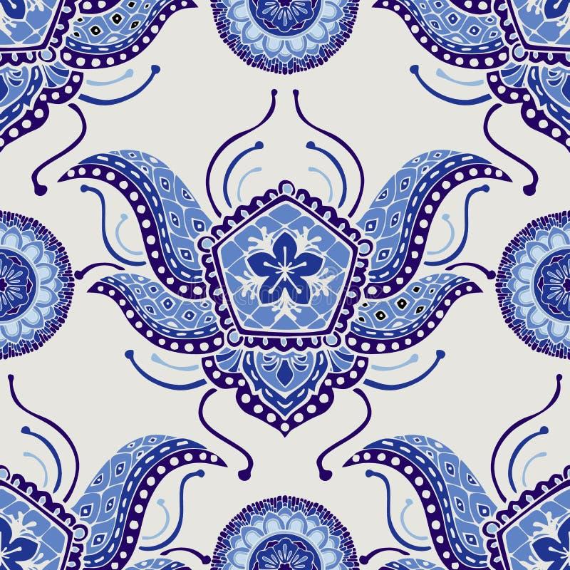 Design för stil för mode för Paisley boho indigoblå blå för sömlös modellbakgrund royaltyfri illustrationer
