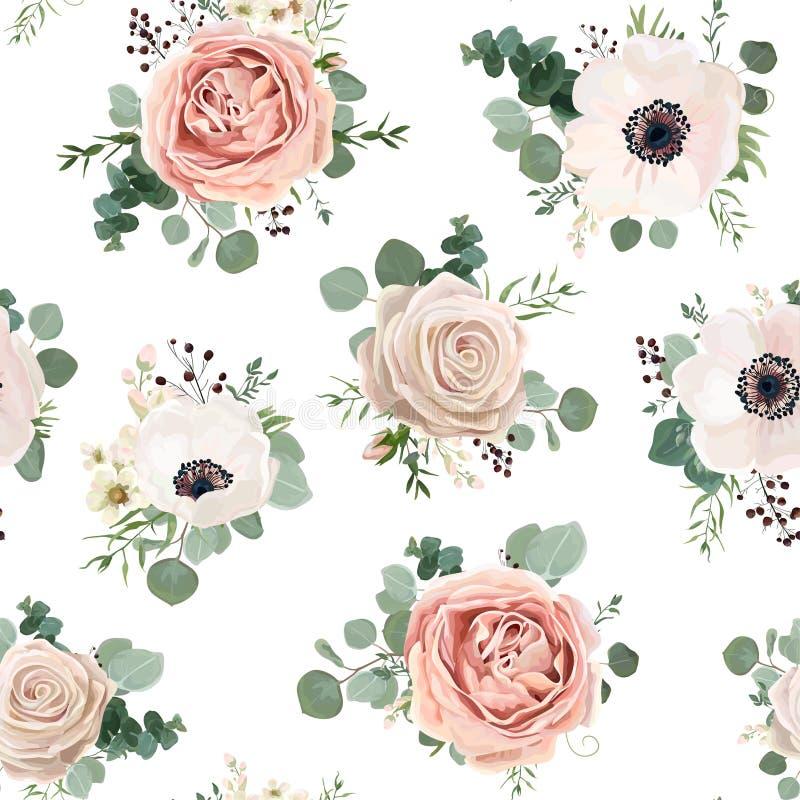 Design för stil för vattenfärg för sömlös modellvektor blom-: trädgårds- p royaltyfri illustrationer