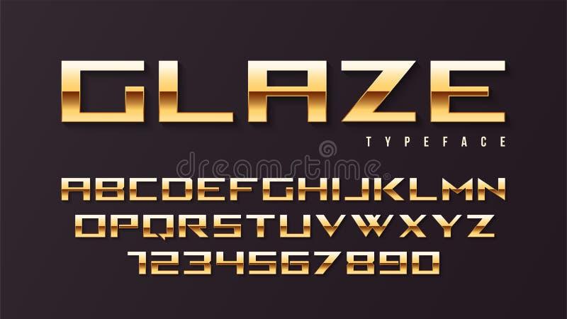 Design för stilsort för skärm för glasyrvektor skinande guld-, alfabet, charact stock illustrationer