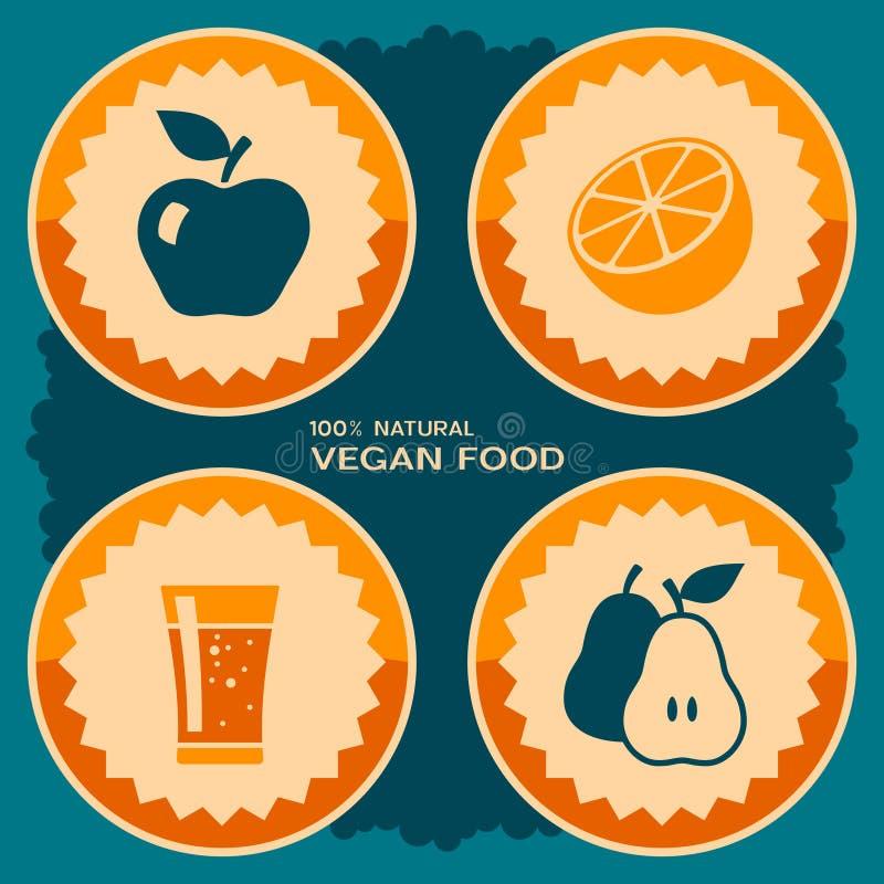Design för strikt vegetarianmataffisch stock illustrationer