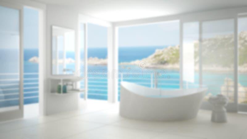 Design för suddighetsbakgrundsinre, minimalist badrum royaltyfri fotografi