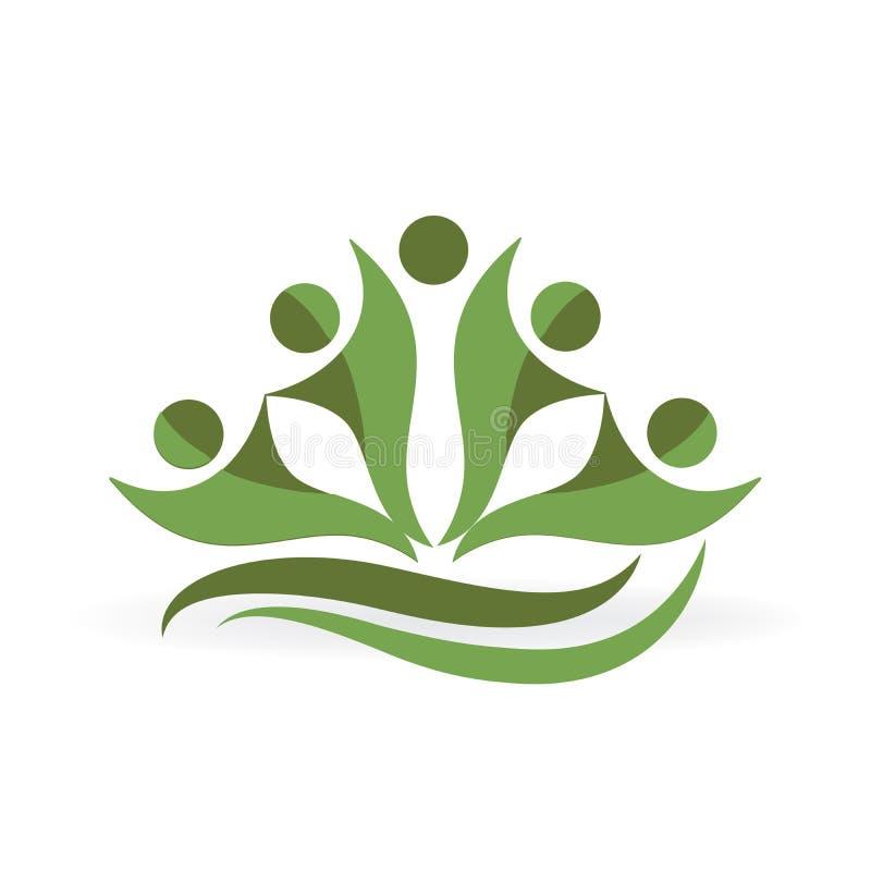Design för sund för folk för logoteamworkgräsplan grafisk för ekologi för affär för symbol för vektor illustration för bild vektor illustrationer
