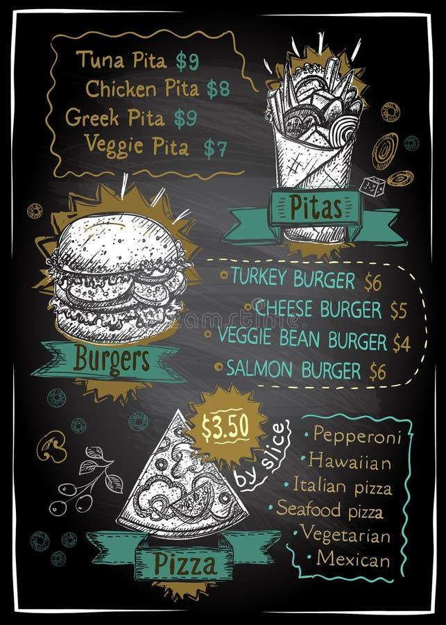 Design för svart tavla för kritamenylista för pizza, hamburgare och pitabröd, hand dragen grafisk illustration stock illustrationer