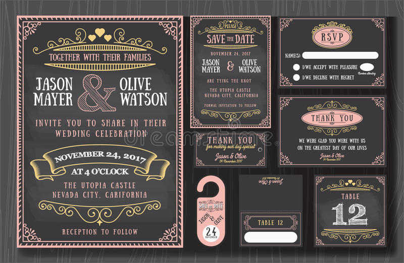Design för svart tavla för tappningbröllopinbjudan royaltyfri illustrationer