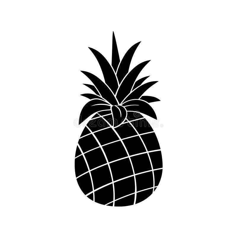 Design för svartvit kontur för ananasfrukt enkel vektor illustrationer