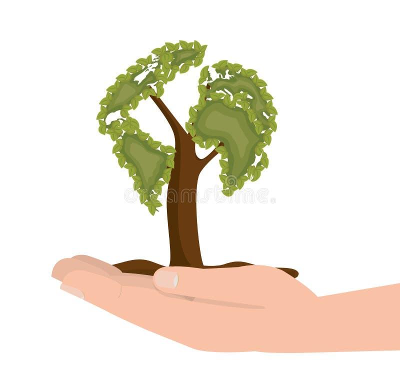 design för symbol för ekologi för handhållträd royaltyfri illustrationer