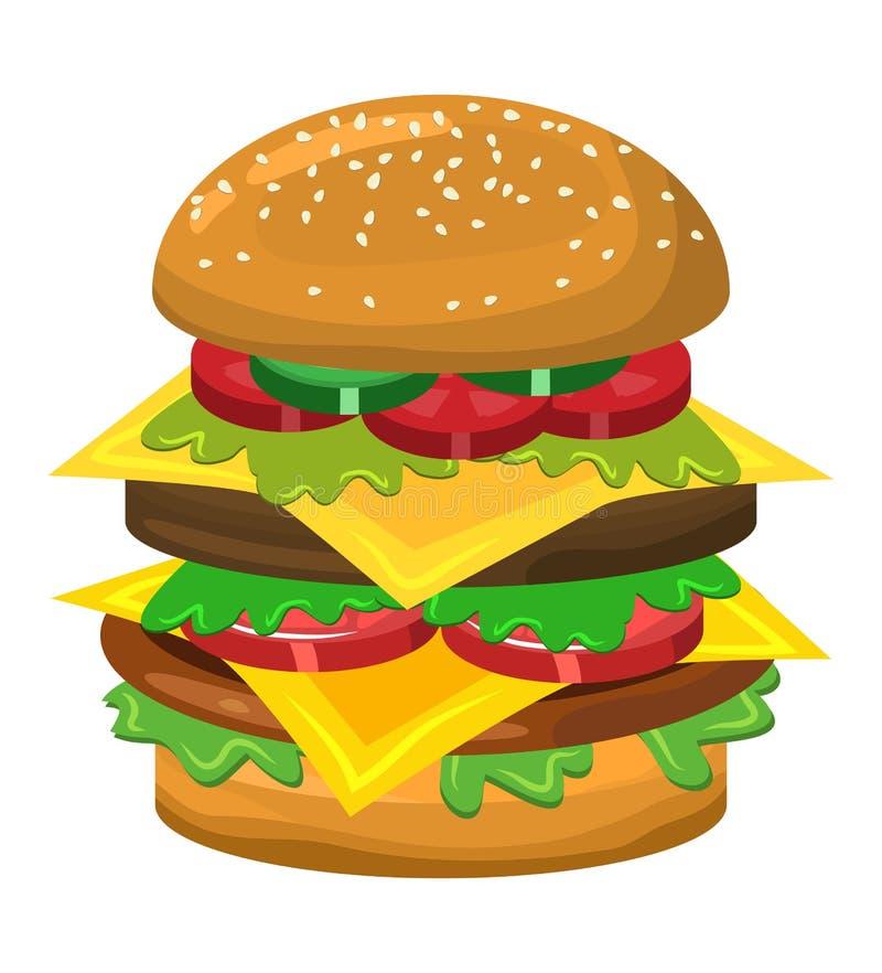 Design för symbol för hamburgarevektorsymbol stock illustrationer