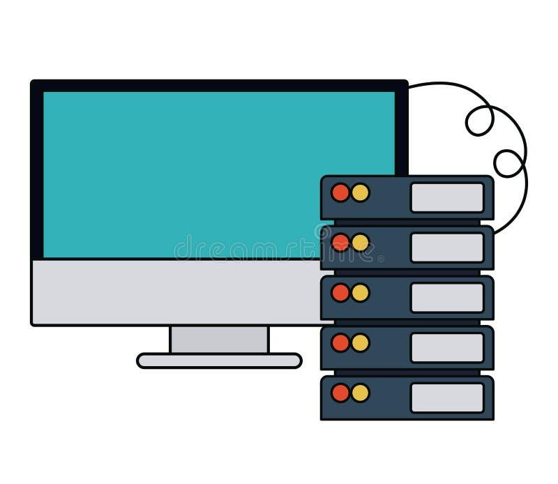 Design för symbol för nätverksserver isolerad stock illustrationer