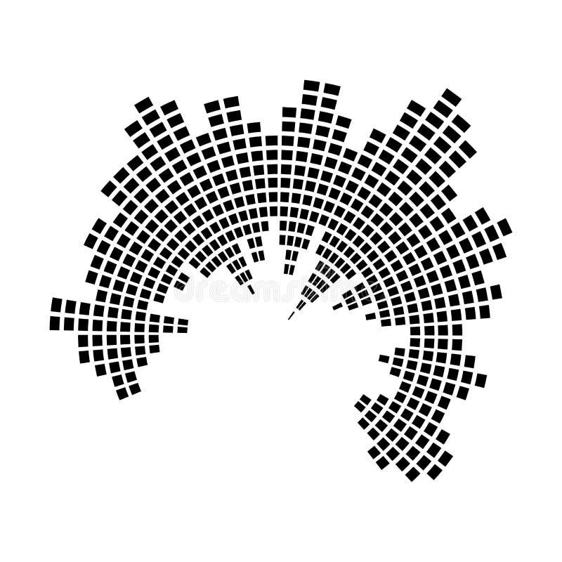 Design för symbol för symbol för vektor för cirkel för solid våg för utjämnaremusik stock illustrationer