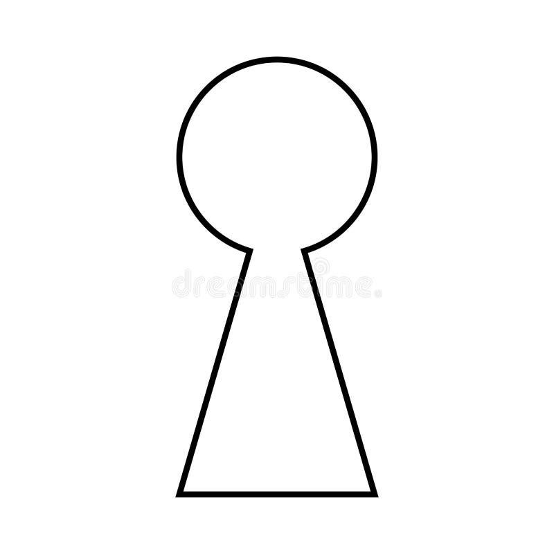Design för symbol för symbol för vektor för nyckelhålkonturöversikt vektor illustrationer