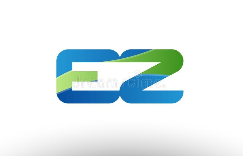 design för symbol för kombination för logo för bokstav för alfabet för ez e z för blå gräsplan vektor illustrationer