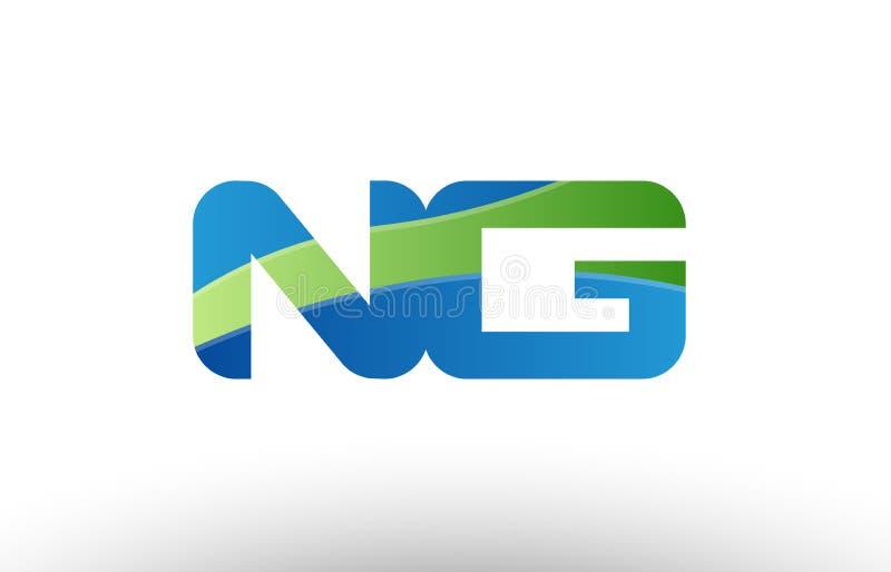 design för symbol för kombination för logo för bokstav för alfabet för G för ng n för blå gräsplan royaltyfri illustrationer