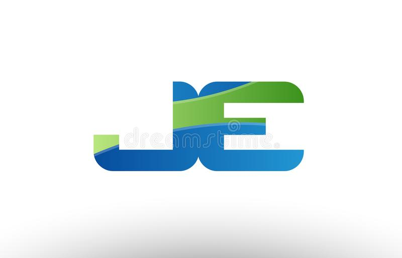 design för symbol för kombination för logo för bokstav för alfabet för je j e för blå gräsplan vektor illustrationer