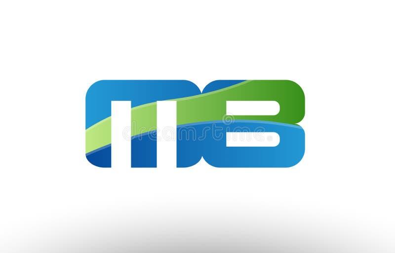 design för symbol för kombination för logo för bokstav för alfabet för mb M b för blå gräsplan stock illustrationer