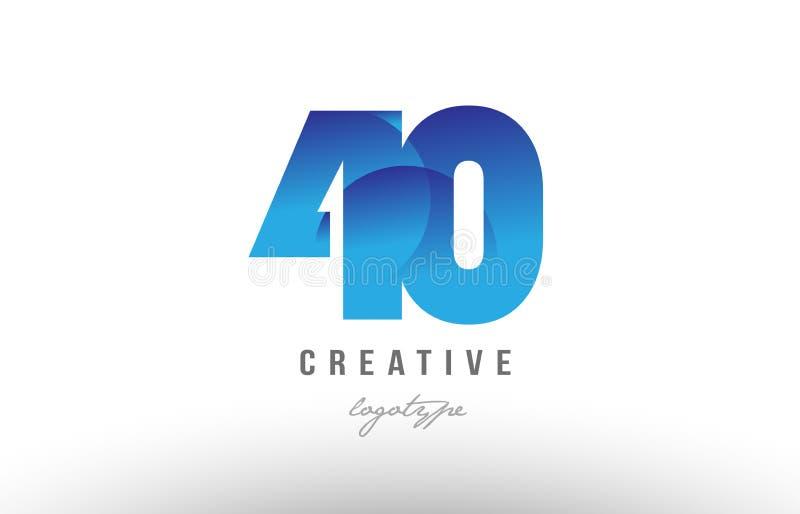 design för symbol för logo för siffra för blått nummer för lutning 40 siffer- vektor illustrationer