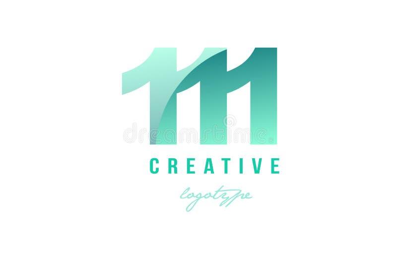 design för symbol för logo för siffra för grönt pastellfärgat nummer för lutning 111 siffer- vektor illustrationer