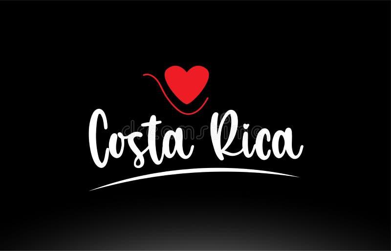 Design för symbol för logo för typografi för Costa Rica landstext på svart bakgrund stock illustrationer